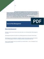 Best Practice News Alert No 90 - Special Risk Management