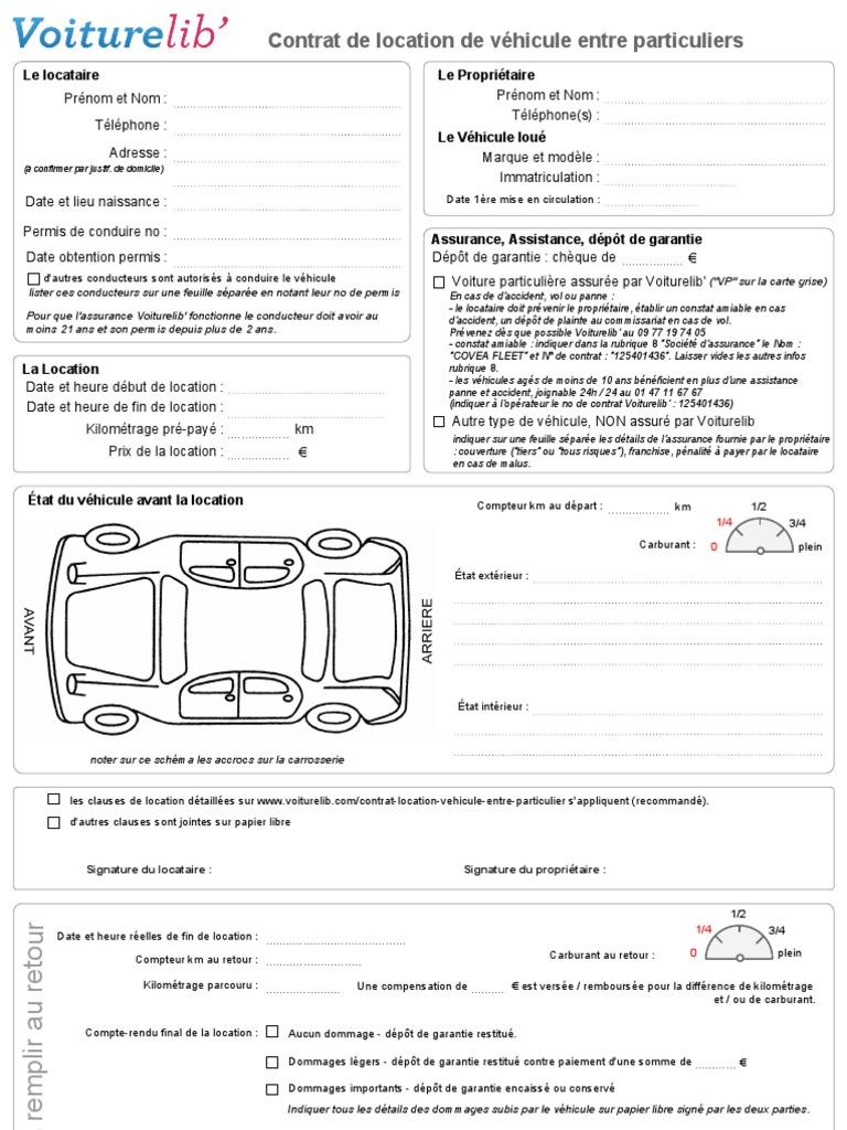 Contrat location vehicule entre particulier for Location materiel particulier a particulier