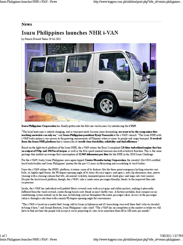 Isuzu Philippines Launches NHR I-VAN - News | Transmisi