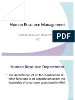 Human Resource Management - Human Resource Department