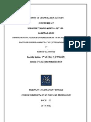 Report of Organization Study at Kerafibertex International Pvt  Ltd