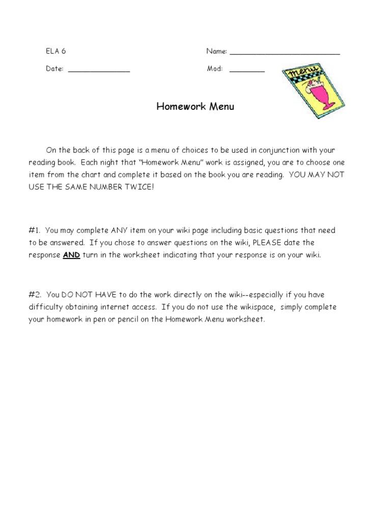22732272 Literature Circle Homework Menu With Web2 0 Tool
