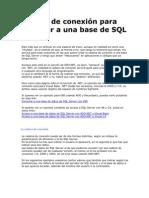 Cadena de conexión para conectar a una base de SQL Server