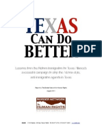 Lessons Learned During the 2011 Texas Can Do Better Campaign by the Border Network for Human Rights