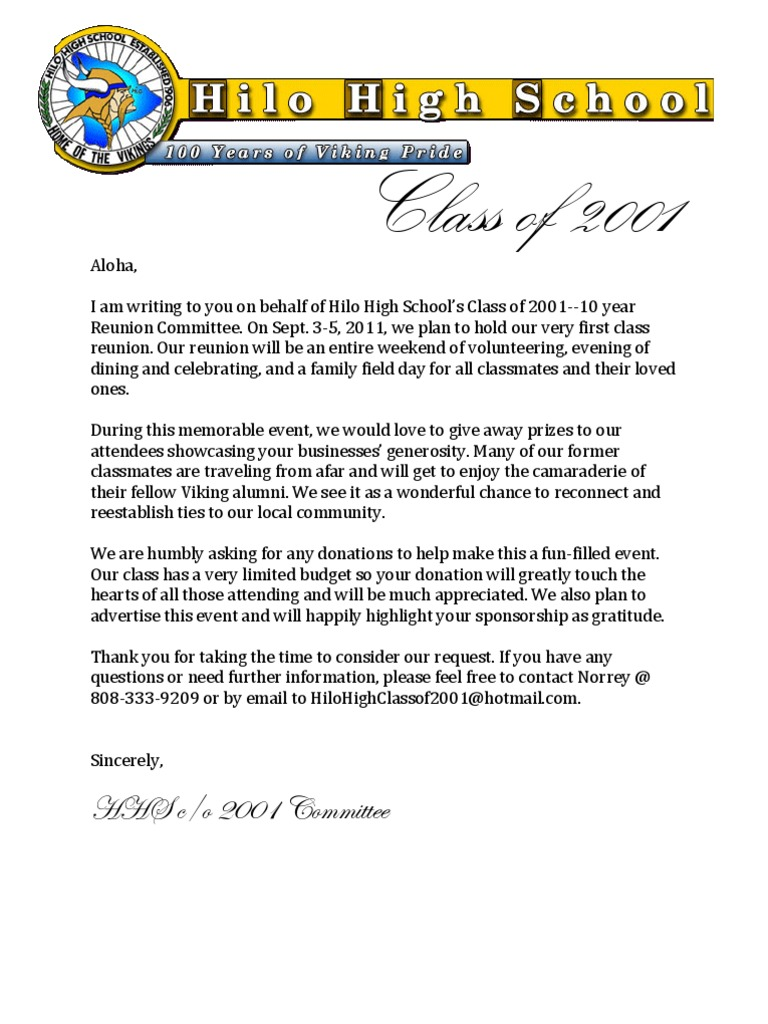 HHS C/O 2001 Reunion Donation Letter