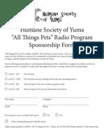 """""""All Things Pets"""" Radio Sponsorship Form _ Humane Society of Yuma"""