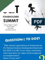 Nasa Siyensya ang Pag-asa, S&T Stakeholders' Summit