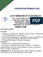 Direcotr Job Jana Shikshan Sansthan - Govt Job -