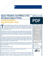 Space Weather and NEOs in the European Space Policy