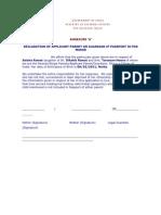 Annexure - H - Declaration for Minor