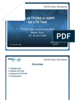 Use of TTCN3 in 3GPP for LTE Test