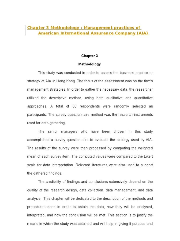 Chapter 3 Methodology | Quantitative Research | Survey Methodology