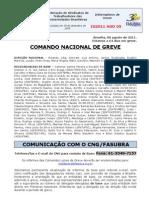 Informe de 8 de agosto de 2011 do Comando Nacional de Greve