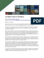 An Open Letter to Teachers