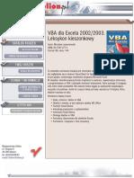 VBA dla Excela 2002/2003. Leksykon kieszonkowy