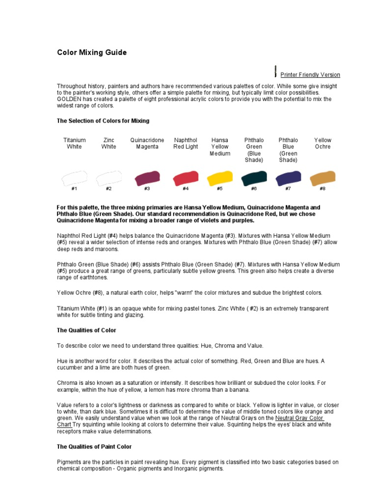 Color Mixing Guide Color Pigment