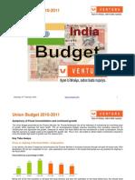 Vntura Union Budget 2010 11