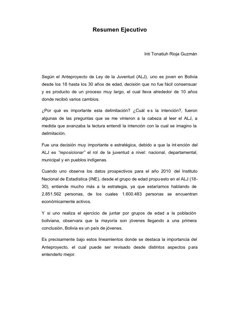 analisis al anteproyecto de ley de la juventud bolivia