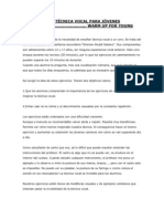 EJERCICIOS DE TÉCNICA VOCAL PARA JÓVENES CANTORES