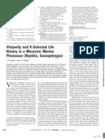 Viviparity and K-Selected Life History in a Mesozoic Marine Plesiosaur Reptilia Sauropterygia