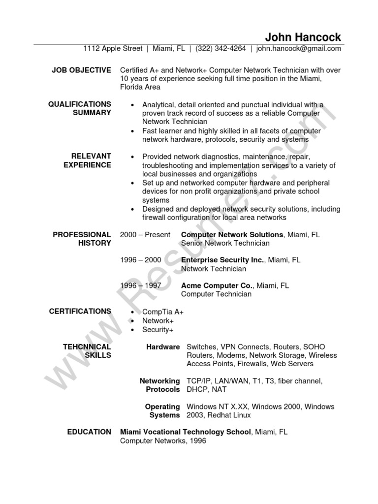 network technician resume sample comp tia local area network - Network Technician Sample Resume