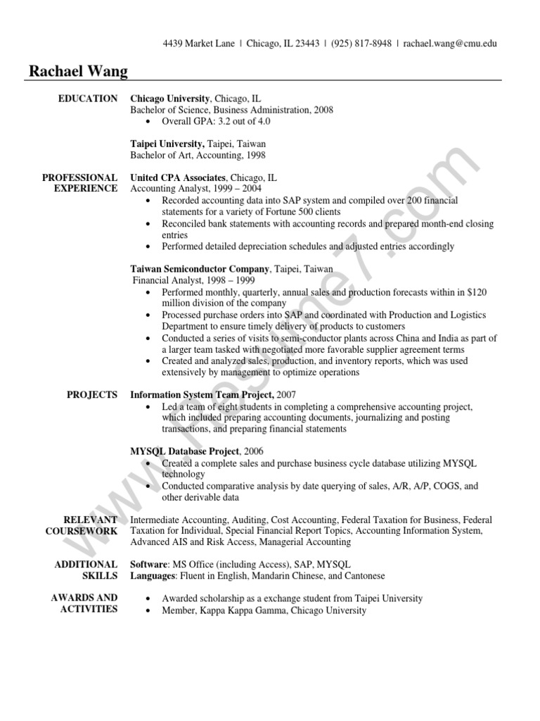 accountant  student resume sample  accounting  service