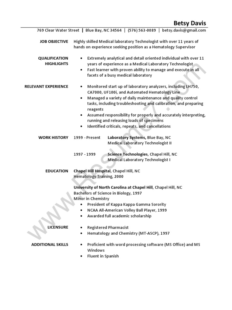 laboratory technician resume sample - Technical Resume Examples