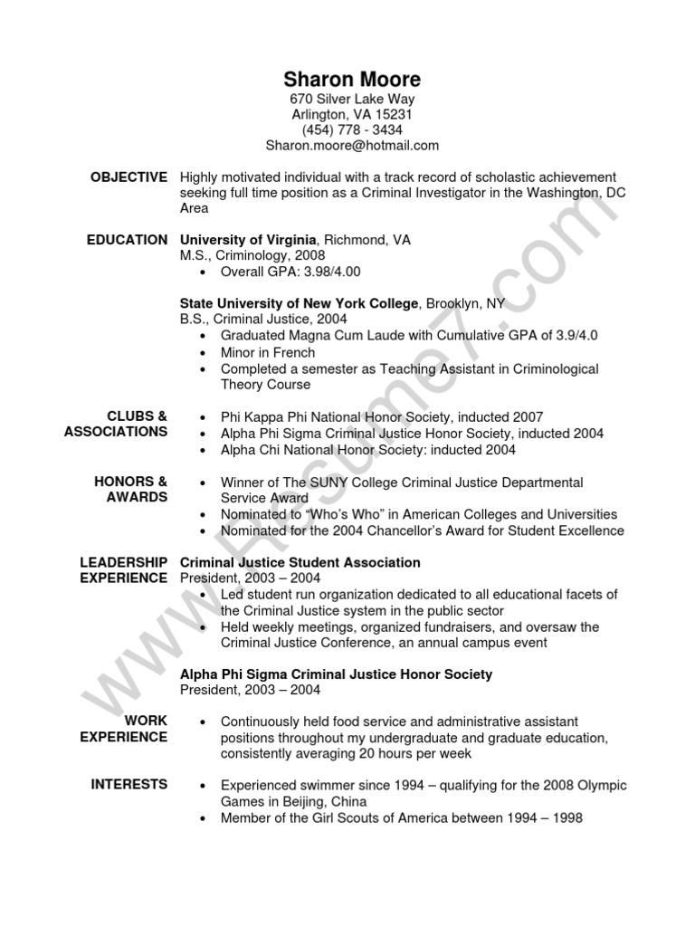 criminial justice resume sample criminal justice crime justice - Criminal Justice Resume