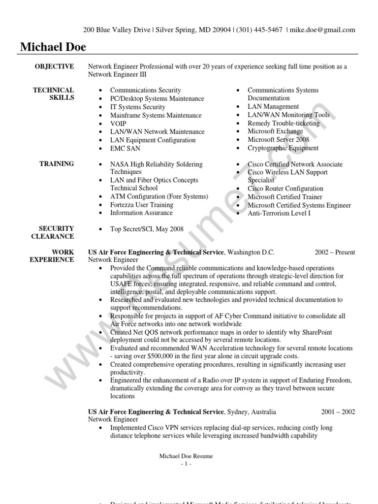 Network Engineer Resume Sample | Local Area Network | Cisco Systems
