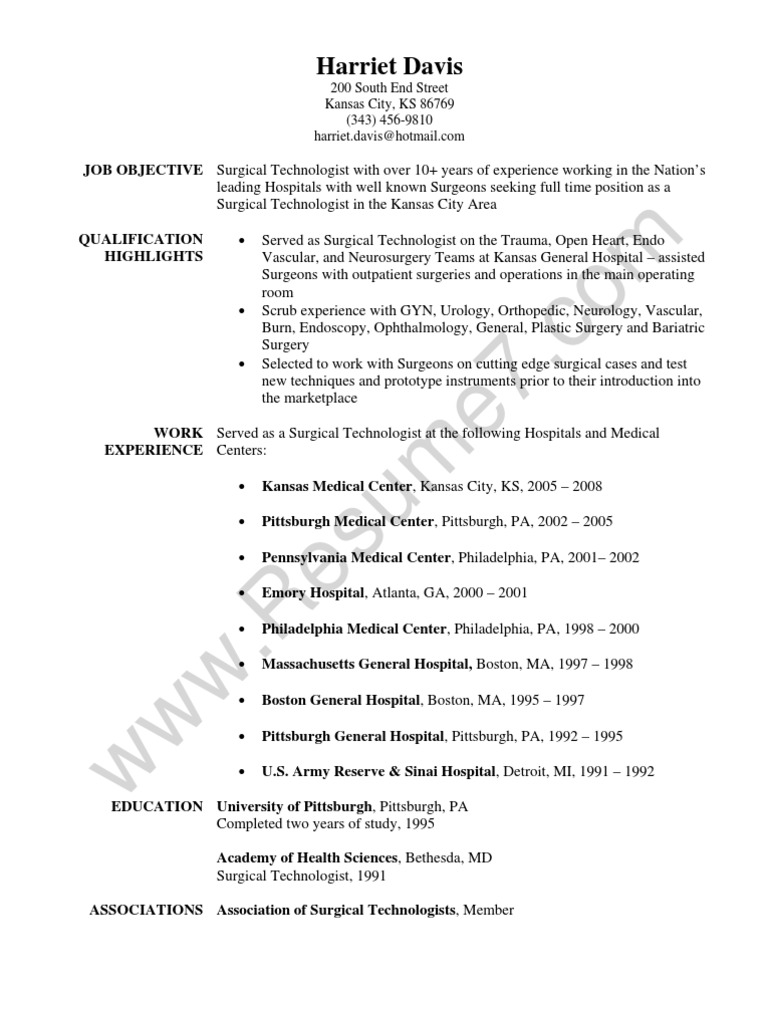 surgical technologist resume sample surgery hospital - Surgical Tech Resume Sample