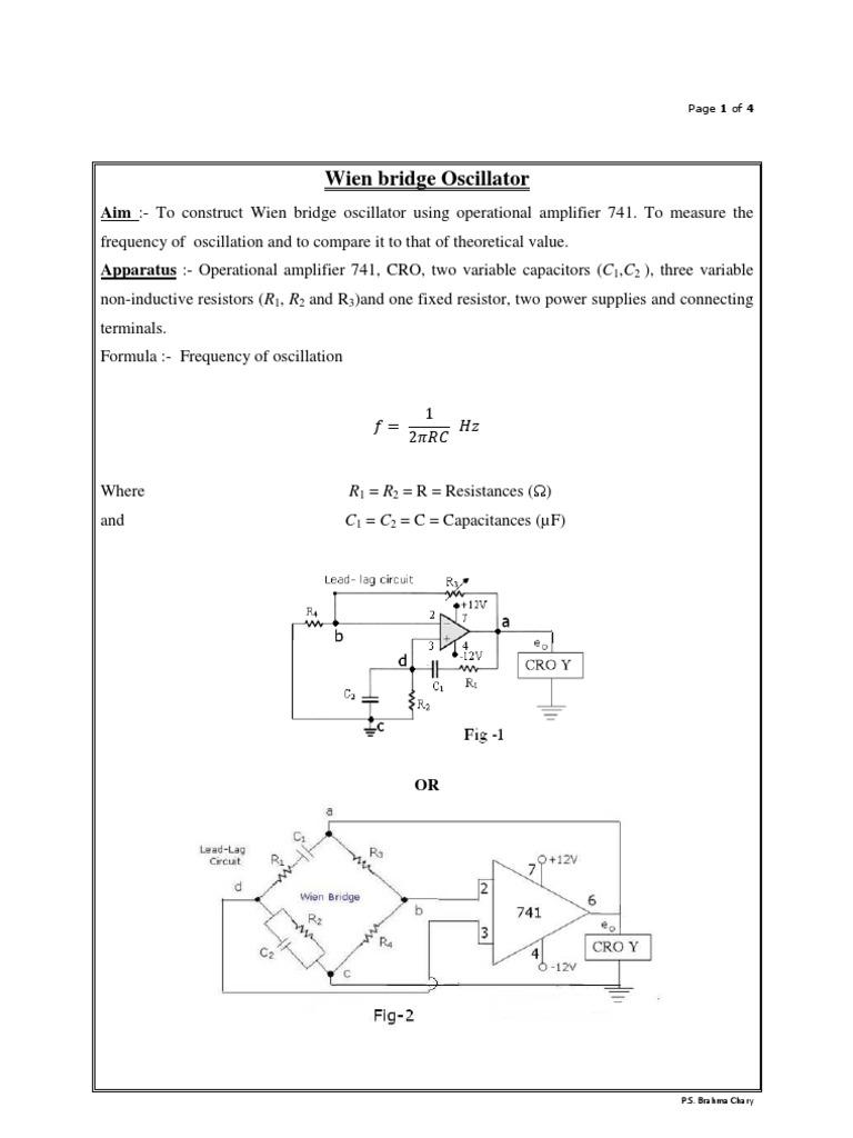 Operational Amplifier 741 as Wein Bridge Oscillator 1 | Amplifier