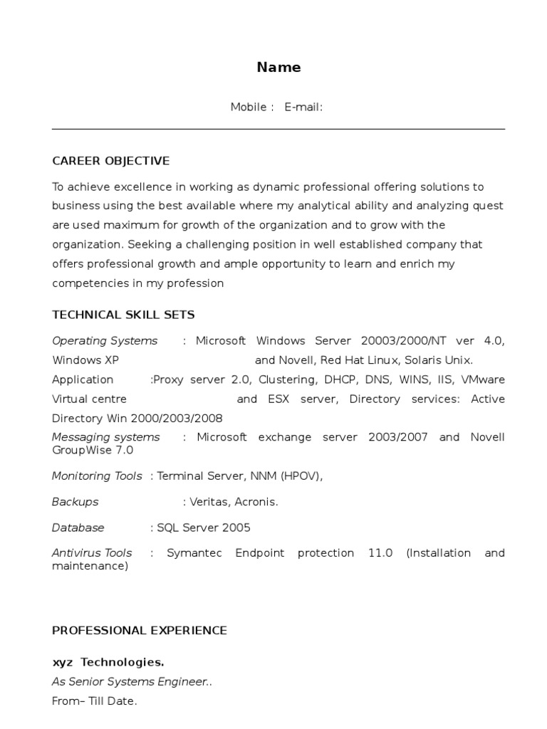 Wintel L1 Sample Resume Microsoft Windows Operating System