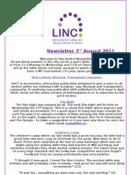 Newsletter 3rd August 2011
