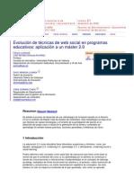 Evolución de técnicas de web social en programas educativos