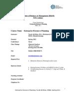 Enterprise Resource Planning (Course Outline)