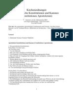 Apostolische Konstitutionen Und Kanones