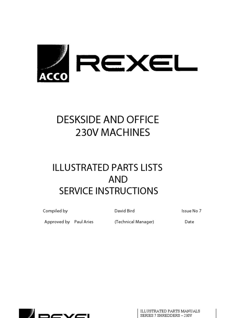 service and parts manual rexel shredder 250 1150 1250 electrical rh es scribd com Rexel Shredder Auto 500X Rexel Shredder V30ws Silencio