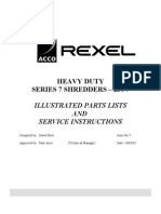 Service and Parts Manual Rexel Shredder 1350-3250 Heavy Duty