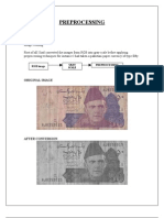 Preprocessing techniques on paper currency