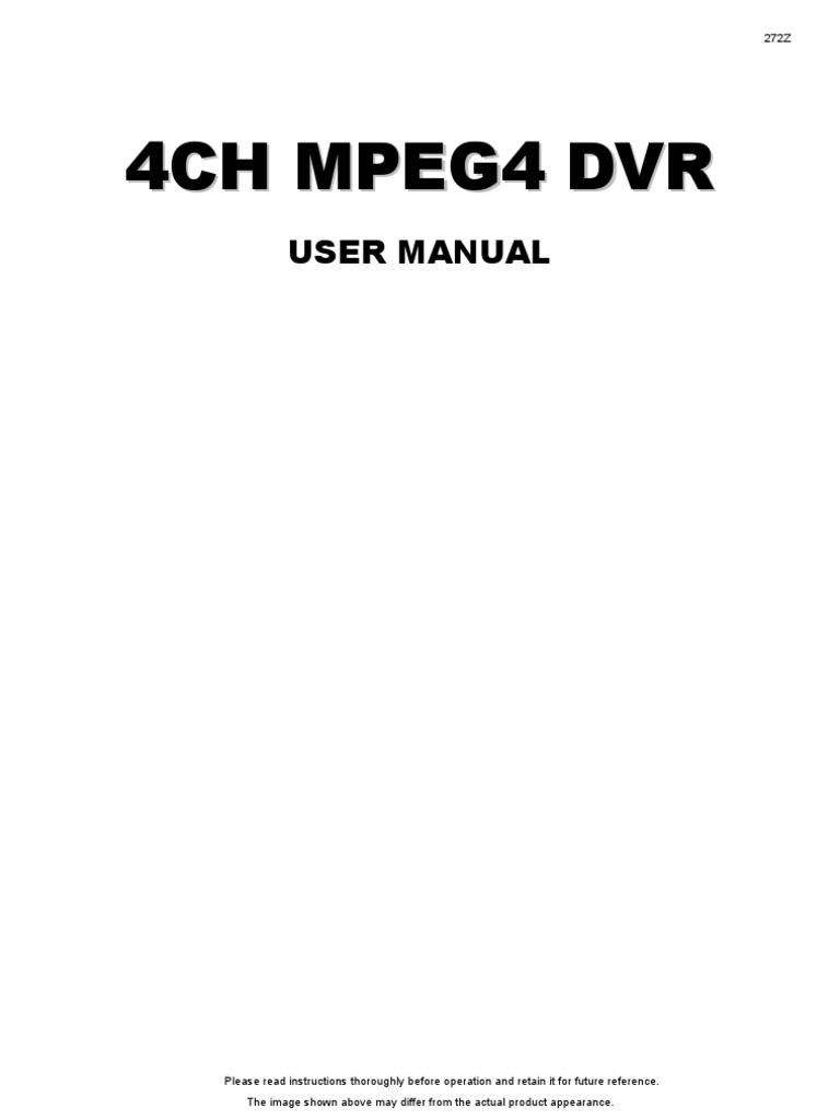 4ch mpeg4 dvr user manual.