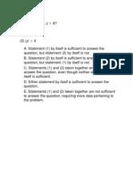GMAT Practice Set 13 - Quantitative