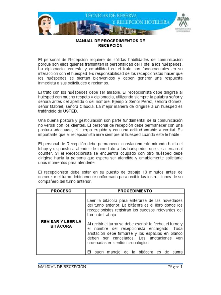 Manual de procedimientos de recepci n for Manual de procedimientos de un restaurante
