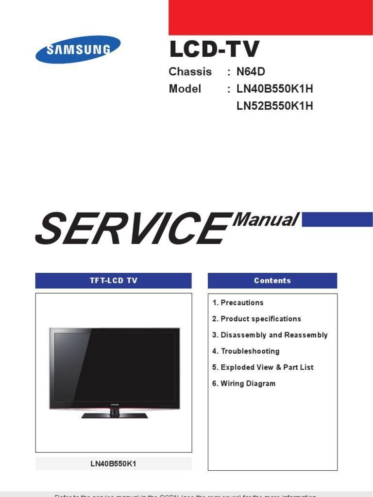 9619 samsung ln40b550k1h ln52b550k1h chassis n64d manual de servicio sin  diagrama | electronics | electricity