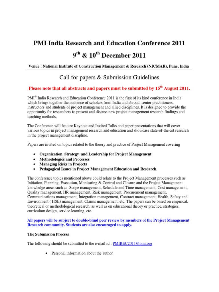 pmi guidelines research