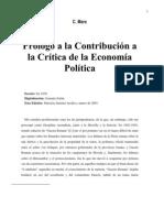 Prólogo a la contribución a la crítica de la economía política por Marx.