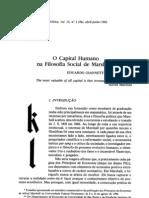 O Capital Humano Na Filosofia Social de Marshall