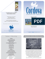 Cordova Church Bulletin August 14, 2011