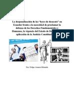 """La despenalización de las """"leyes de desacato"""" en Ecuador frente a la necesidad de proclamar la defensa de los Derechos Fundamentales y Humanos, la vigencia del Estado de Derecho y la aplicación de la Justicia Constitucional."""