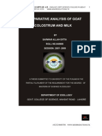 Comparative analysis of goat milk and colostrum