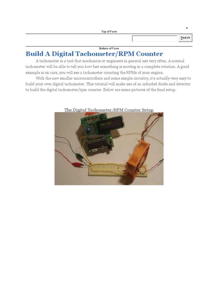 Digital Tachometer Pic Microcontroller Detector Radio Circuit Led The Infrared Very